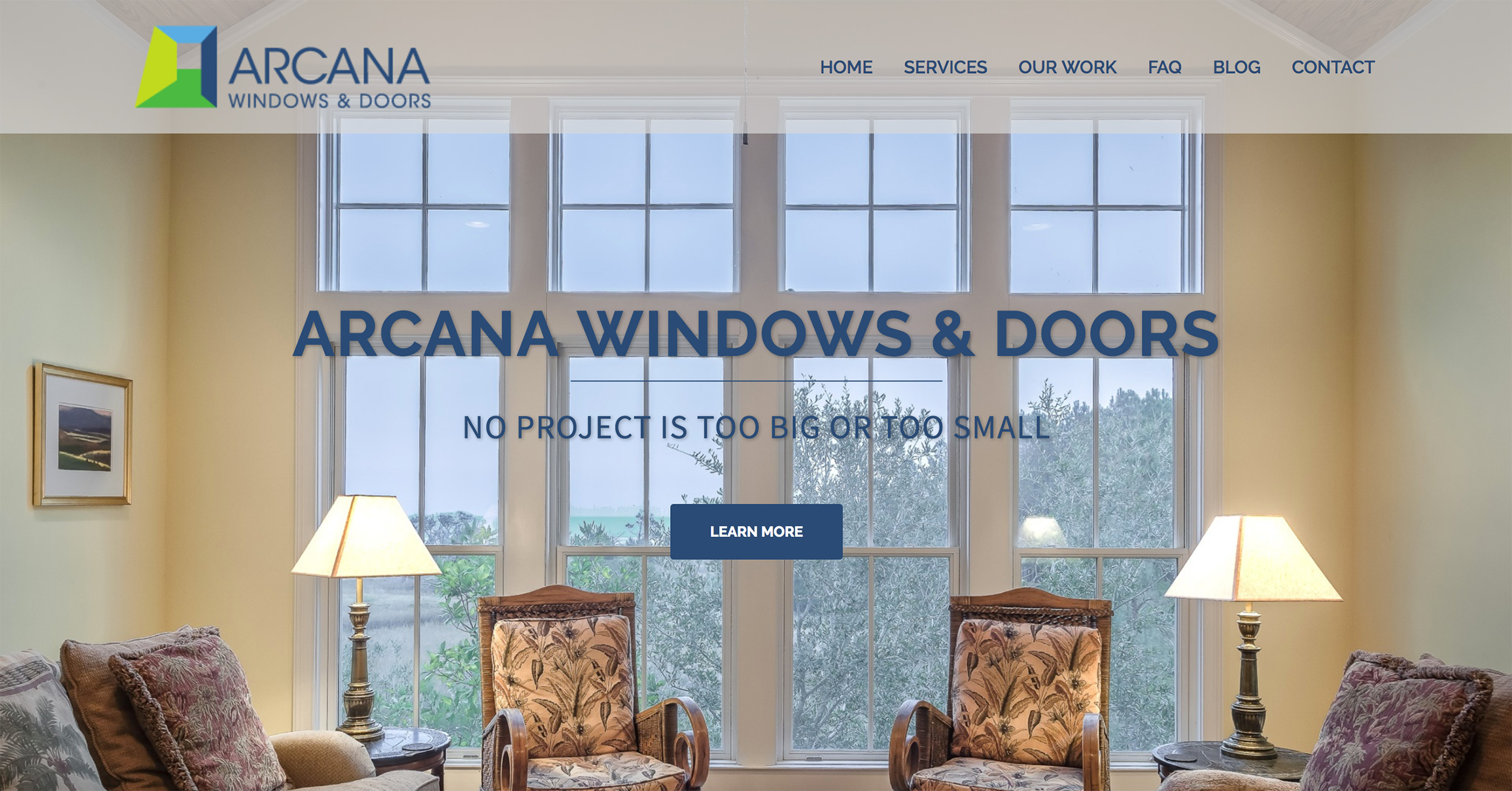 New Arcana Windows website homepage