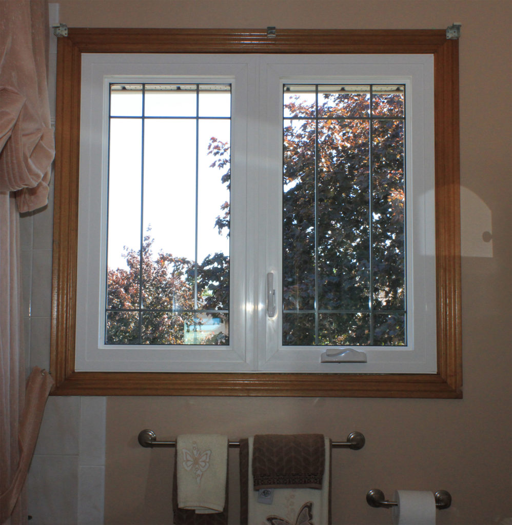 Casement Window with Grill installation in Stained Frame, Hamilton Ontario