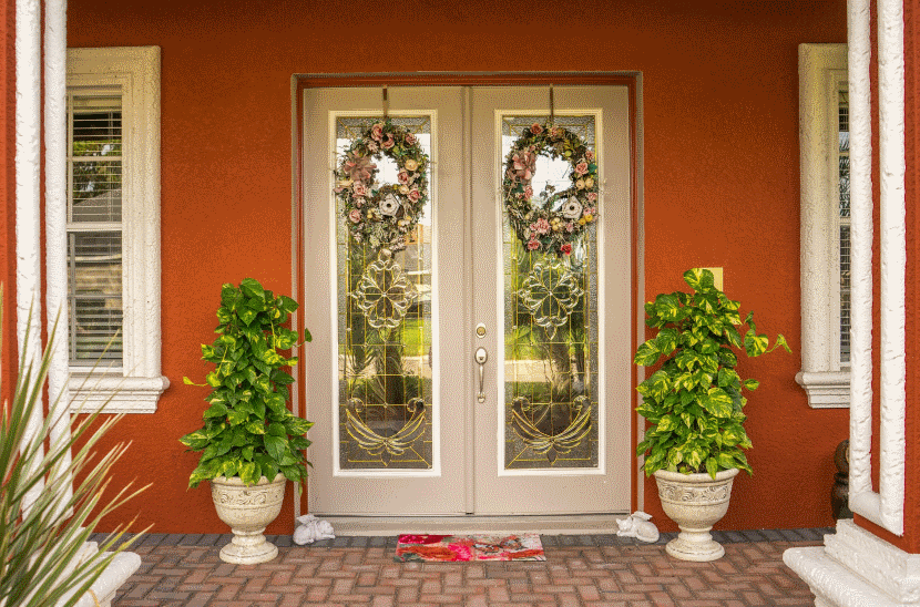 front doorway with wreaths 830