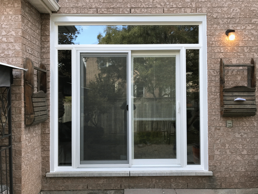 sliding patio door with transom